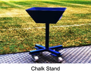 Mobile Chalk Stand made of aluminium material, powder coated, 71 cm high. Funnel diameter about 38 cm. Includes casters