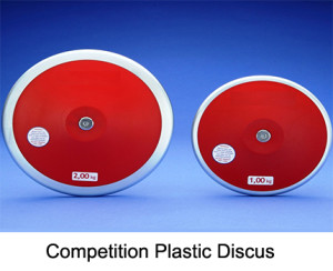 There are two kinds of Discus, They are plastic discus and carbon discus.  The weights are 1 kg, 1.5 kg, 1.75 kg and 2 kg.