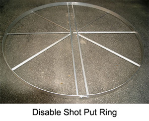 Handicapped accessible shot put & discus ring. Made from aluminium profile.