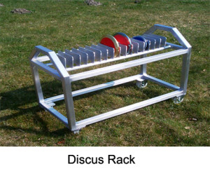 Discus rack mobile. Made from aluminium and extreme robust. The turning wheels increase the handling comfort of this rack. It provides space for up to 14 discuses.