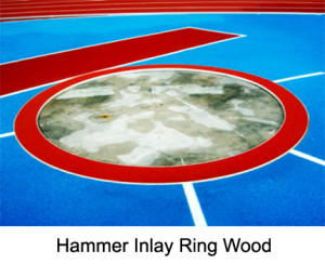 Hammer Inlay Ring (Wood), This two-section hammer throwing circle reduces the diameter (of a discus circle) to 2.135 m and is made from weatherproof multiplex laminate.