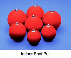 Indoor shot put is designed for all skill levels. It is ideal for indoor training. The indoor shot put features a durable elastic PVC shell that completely covers the shot put.