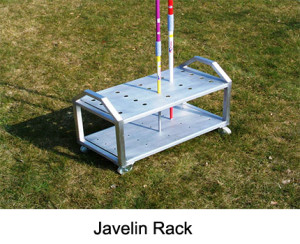 Javelin rack Mobil. Made from alumnium and extreme robust. The turning wheels increase the handling comfort of this rack. It provides space for up to 20 javelins.