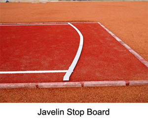 Javelin stop board, complies with the IAAF Rules, Made from aluminium with spikes (arc of a circle radius 8 m)