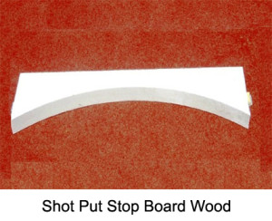 Shot put stop board made of solid wood, lacquered white. IAAF certified