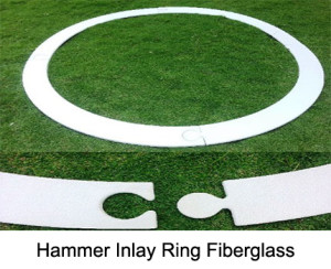 Hammer throwing circle, with IAAF-certification, from fibre glass reinforced plastic, 4-part.