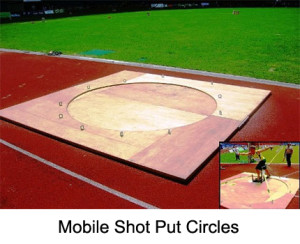 Indoor mobile throwing circle shot put and Indoor mobile throwing circle discus are made from wood.