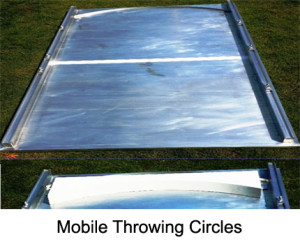 The outdoor mobile throwing circle is made from aluminium. The circle is 2 m long and 1.5 m wide. The centre line is marked in white colour. The circle is equipped with six adjustable attachment points.