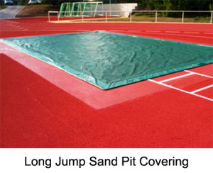 The long jump sand pit cover is made from PVC coated netting fibre. The used material is spike proof. The cover is surrounding by a steel link chain. The cover weighs roughly 400 g/sqm.