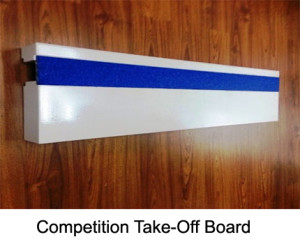 The takeoff board is made from solid wood. Its overall dimensions are 122x34x10 cm. The board consists of two sections of wood. This item also includes an inlay board, which is made from rubber and aluminium.