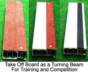 "Take-off board. The ""three in one"" (122 x 34 x 10 cm)  take- of board provides maximum flexibility. The individual segments can be simply taken out and turned around."
