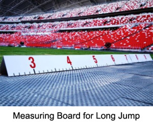 Measuring Boards for Triple Jump 13-19 m. Made from white powder coated aluminium. Weatherproof panels with scale on both sides. The 3-sectional design allows easy transport and storage.