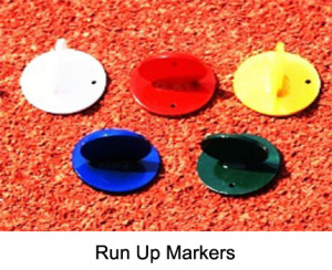 The run up markers are used to help the athlets to mark their personal starting position. Made from steel. Powder coated. Assorted in in different colors.