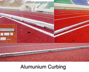 The aluminium curbing is made from special made anodized aluminium profiles. It is a mobile marker and separator of the running track. The set measures a total length of 400 m. The curbing is 60 mm wide and 50 mm high
