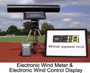 The electronic wind meter is an electronic wind measurement device. The recording interval can be adjusted between 5 to 13 seconds. The meter is placed on a telescopic. The item also includes a sturdy transport case