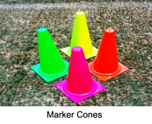 The marker cones are made from plastic. Their height is 28 cm and 40 cm. The cones are available in assorted colours