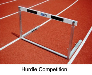 The competition hurdle is made from high grade aluminium profiles.  The crossbar is made from high quality, durable and extremely flexible wood.