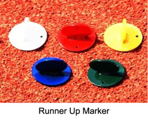 The run up markers are used to help the athlets to mark their personal starting position. Made from steel. Powder coated. Assorted in in different colors