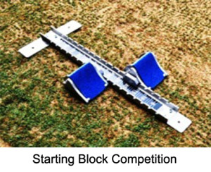 Competition Starting Block made from aluminium casting with spikes. The height of the blocks can be adjusted