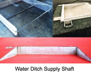 3-section water jump construction kit made of stable aluminum double hollow profiles, consisting of two sides and one front section. The ground sockets (with lid) for the water jump steeplechase hurdle are welded onto the front section. Dimensions of water pit: 3.66 x 3.45m.