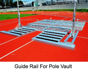 The guide rail for pole vault is made from extra strong alumunium profiles. The rail is used for the free standing pole vault uprights.