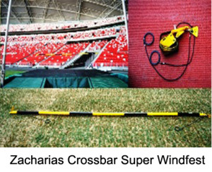 "The ""Zacharias ""crossbar is the safest practice crossbar available. It is made of vinyl tube with rubber cables at both ends which are fixed to the stands."