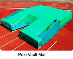 Pole vault mat, size 8x6 m, with protective mesh lath, designed to be spike-proof throughout the complete landing surface including the wedge padding and at the sides down to the ground – guaranteed optimal circulation.