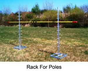 The rack for poles is made from aluminium. It provides storage space for vaulting poles. It is free standing and can be moved easily.